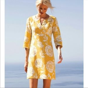 Boden Yellow Floral Linen Dress - size 6L